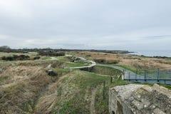 Pointe Du Hoc w Normandy, miejsce leśniczy inwazja podczas Wo zdjęcia stock