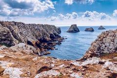 Pointe du Pen-Hir on the Crozon peninsula, Finistere department. Camaret-sur-Mer, Parc naturel regional d `Armorique. Brittany Bretagne, France stock photos