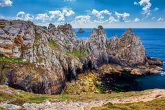 Pointe du Pen-Hir on the Crozon peninsula, Finistere department. Camaret-sur-Mer, Parc naturel regional d `Armorique. Brittany Bretagne, France royalty free stock image