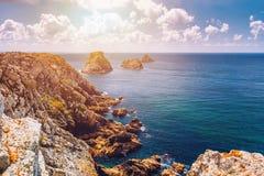 Pointe du Pen-Hir on the Crozon peninsula, Finistere department,. Camaret-sur-Mer, Parc naturel regional d`Armorique. Brittany Bretagne, France stock photography