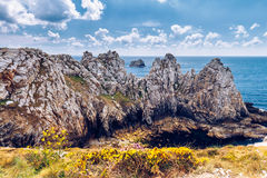 Pointe du Pen-Hir on the Crozon peninsula, Finistere department,. Camaret-sur-Mer, Parc naturel regional d'Armorique. Brittany (Bretagne), France stock images