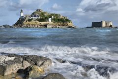 Pointe du Penn, with castle, Hdr Stock Photo