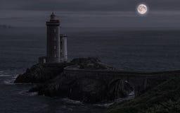 Pointe du Petit Minou en la noche Imágenes de archivo libres de regalías