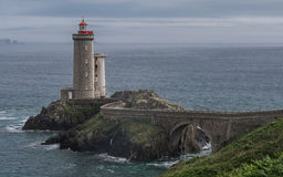 Pointe du Petit Minou. Le Petit Minou lighthouse tells boats wishing to travel to Brest, the road to follow to enter the harbor. It forms an alignment with the Royalty Free Stock Image