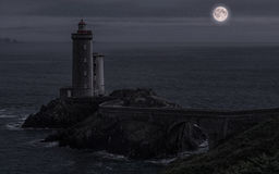Pointe du Petit Minou på natten Royaltyfria Bilder