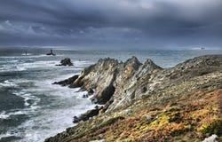 Pointe du Raz. Wild stormy coasline before storm, high density range image Royalty Free Stock Image