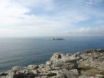 pointe du Raz和沿海在布里坦尼 免版税图库摄影