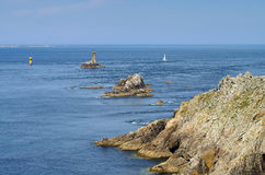 Pointe du Raz and lighthouse Phare de la Vieille in Brittany Stock Photography