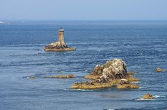 Pointe du Raz and lighthouse Phare de la Vieille in Brittany Royalty Free Stock Photos