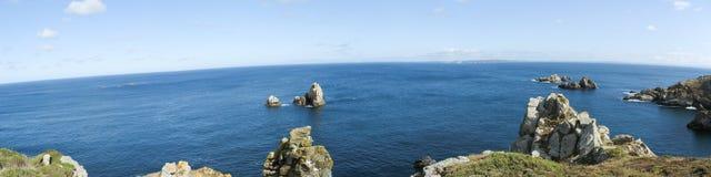 Pointe du Van en overzeese kust in Bretagne Stock Afbeelding
