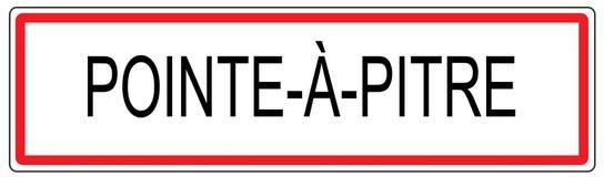 Pointe eine Pitre-Stadt-Verkehrszeichenillustration in Frankreich Stockfoto