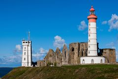 Pointe Saint-Mathieu with ruins of the Abbaye Saint-Mathieu de F. Ine-Terre Breton: Lok Mazé Brittany Bretagne, France Royalty Free Stock Photo