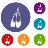 Pointe shoes icons set Royalty Free Stock Images