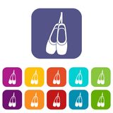 Pointe shoes icons set. Vector illustration in flat style in colors red, blue, green, and other Royalty Free Stock Image
