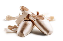 Pointe Shoes. Isolated over white background royalty free stock photo