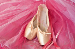Pointe shoes and pink tutu Royalty Free Stock Image