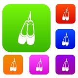 Pointe shoes set collection. Pointe shoes set icon in different colors isolated vector illustration. Premium collection Stock Images