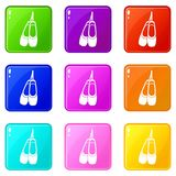 Pointe shoes set 9. Pointe shoes icons of 9 color set isolated vector illustration Royalty Free Stock Photos