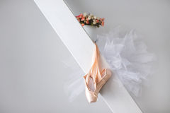 Pointe shoes and tutu. Stock Photos
