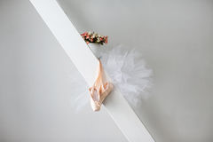 Pointe shoes and tutu. Royalty Free Stock Photography