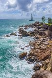 Pointe Ste Marie, Seychelles. A view from Pointe Ste Marie viewpoint in Constance Lemuria hotel, Praslin island, Seychelles Royalty Free Stock Photo