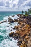 Pointe Ste Marie, Seychelles. A view from Pointe Ste Marie viewpoint in Constance Lemuria hotel, Praslin island, Seychelles Stock Photo