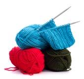 Pointeau de laine d'amorçage et de tricotage Photos stock