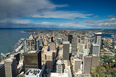 Pointeau et horizon de l'espace de Seattle Photos stock