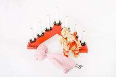 Pointeaux de tricotage, filé, paille finlandaise traditionnelle Photos libres de droits