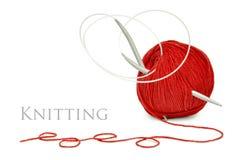 Pointeaux rouges de laines et de tricotage Photos libres de droits