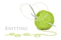 Pointeaux verts de laines et de tricotage Photo libre de droits