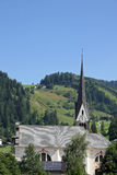 Pointed bell tower of a church in South Tyrol Stock Photography