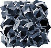 Pointed black crystal abstract shape on white Stock Images