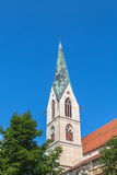Pointed church tower in Rottweil Royalty Free Stock Images