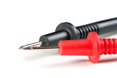 Pointed Electrical Test Probes. With black and red insulated leads Stock Photography
