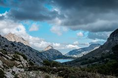 Pointed mountains and lake. Mallorca. Tramuntana Royalty Free Stock Photos