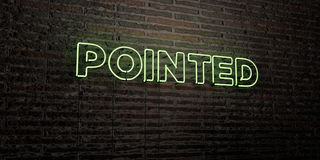 POINTED -Realistic Neon Sign on Brick Wall background - 3D rendered royalty free stock image. Can be used for online banner ads and direct mailers Royalty Free Stock Photo