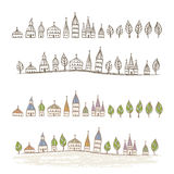 Pointed roofed cute houses Royalty Free Stock Photography