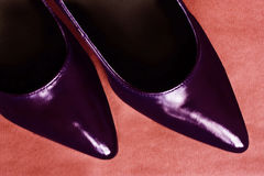 Pointed shoes. The toes of a pair of dark pointed shoes stock images