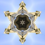 Pointed star design made from real estate image. Geometric kaleidoscope pattern on mirrored axis of symmetry reflection. Colorful shapes as a wallpaper for royalty free illustration