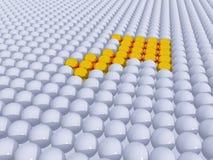 Pointer. Balls arrow symbol in gold - 3d illustration Stock Image