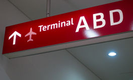 Pointer at an airport terminal Stock Photo
