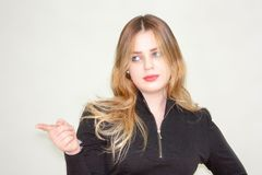 pointer Belle fille Femme d'affaires - 2 photos stock