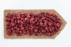 Pointer of  burlap with dried  cranberry Royalty Free Stock Photo