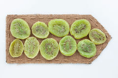 Pointer of  burlap with dried kiwi Stock Photo