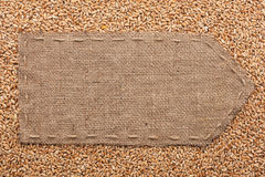 Pointer of burlap lying on a wheat background Stock Image