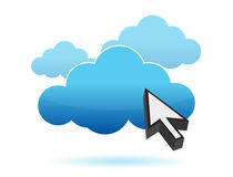 Pointer and cloud icon illustration Stock Photography