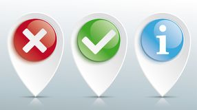 Yes No Info Tick Pointer Colored Glossy Buttons Header Stock Photos