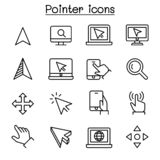 Pointer & Cursor icon set in thin line style vector illustration