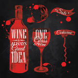 Pointer drawn pour wine chalk. Pointer drawn pour wine with the inscription wine is always good idea with splashes and blots prints bottle, of wine, glass, a Royalty Free Stock Photography